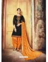 Black Embroidered Chanderi Silk Designer Patiala Salwar Suit