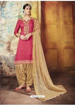 Fuchsia Embroidered Chanderi Silk Designer Patiala Salwar Suit
