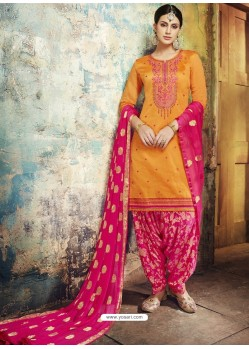 Mustard Embroidered Chanderi Silk Designer Patiala Salwar Suit