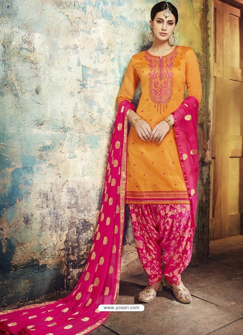 3640a9d46e Buy Mustard Embroidered Chanderi Silk Designer Patiala Salwar Suit ...
