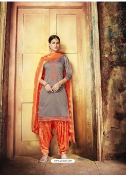 Dull Grey Embroidered Chanderi Silk Designer Patiala Salwar Suit