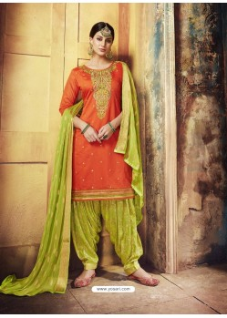 Orange Embroidered Chanderi Silk Designer Patiala Salwar Suit