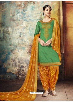 Forest Green Embroidered Chanderi Silk Designer Patiala Salwar Suit