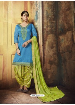 Blue Embroidered Chanderi Silk Designer Patiala Salwar Suit