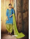 Blue Embroidered Chanderi Silk Designer Patiala Salwar Suit
