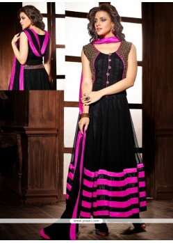 Stunning Black Georgette And Velvet Anarkali Suit