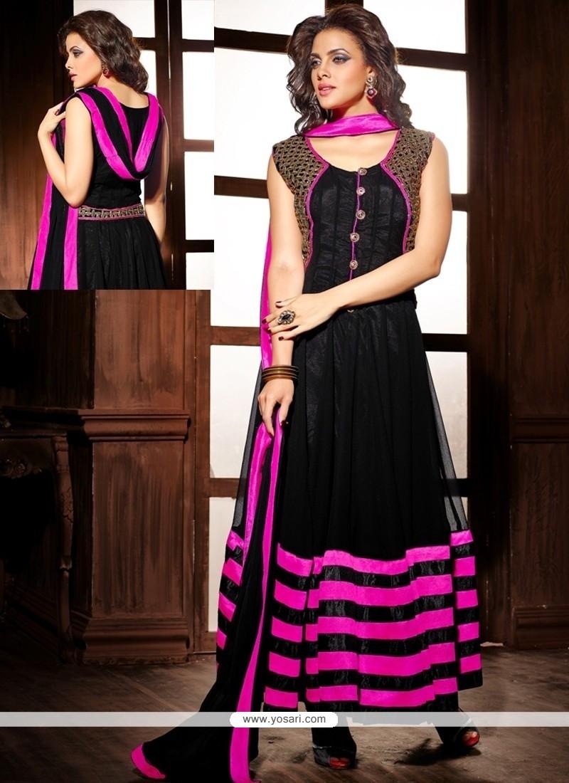 Stunning Black Georgette And Velvet Anarkali Suit