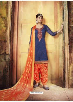 Navy Blue Embroidered Chanderi Silk Designer Patiala Salwar Suit