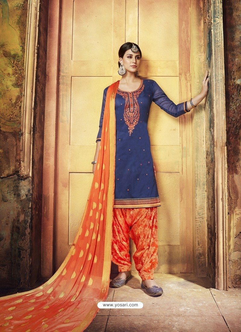 Navy Blue Embroidered Chanderi Silk Designer Patiala Salwar Suit