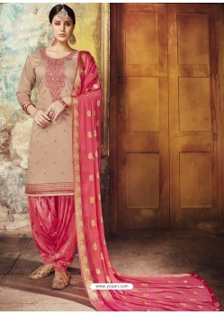 Dusty Pink Embroidered Chanderi Silk Designer Patiala Salwar Suit