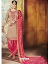 Dusty Pink Embroidered Chanderi Silk Designer Patiala Salwar Suit