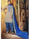 Light Brown Embroidered Chanderi Silk Designer Patiala Salwar Suit