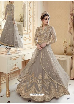 Silver Heavy Net Embroidered Designer Anarkali Suit