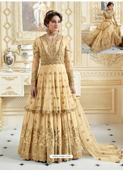 Cream Heavy Net Embroidered Designer Anarkali Suit