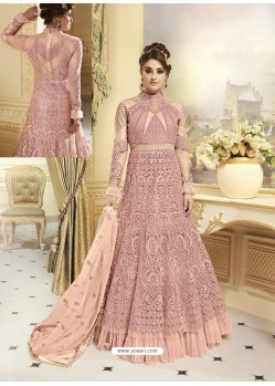 Pink Heavy Net Embroidered Designer Anarkali Suit