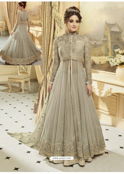 Taupe Heavy Net Embroidered Designer Anarkali Suit
