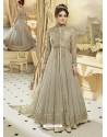 Taupe Heavy Net Embroidered Designer Anarkali Suit