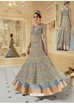 Pigeon Heavy Net Embroidered Designer Anarkali Suit