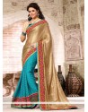 Turquoise Blue And Beige Faux Georgette Designer Saree