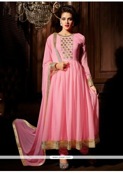 Pretty Pink Georgette Designer Anarkali Suit