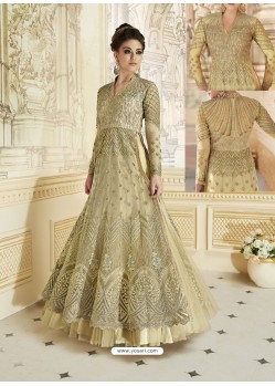 Golden Heavy Net Embroidered Designer Anarkali Suit
