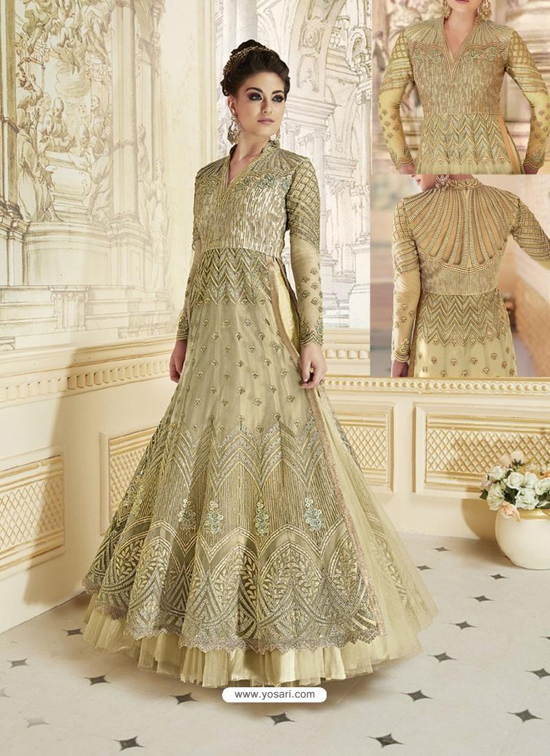 Golden Heavy Net Embroidered Designer Anarkali Suit