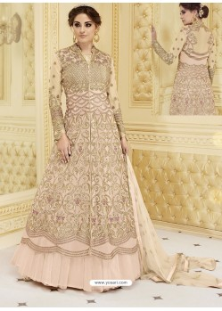 Baby Pink Heavy Net Embroidered Designer Anarkali Suit