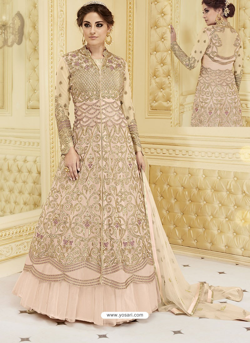 Baby Pink Heavy Net Embroidered Designer Anarkali Suit