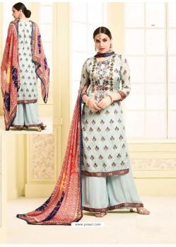 Sky Blue Digital Printed Silky Georgette Designer Sarara Suit