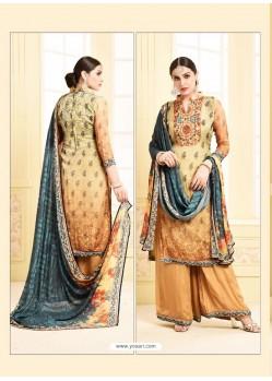 Mustard Digital Printed Silky Georgette Designer Sarara Suit