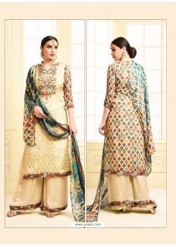 Stylish Cream Digital Printed Silky Georgette Designer Sarara Suit