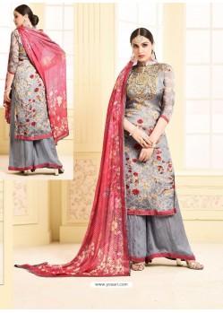 Grey Digital Printed Silky Georgette Designer Sarara Suit