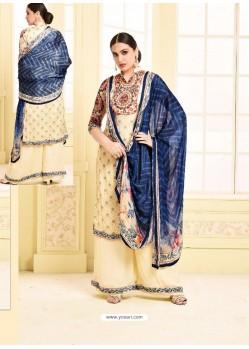 Latest Cream Digital Printed Silky Georgette Designer Sarara Suit