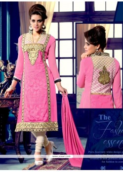 Celestial Pink Georgette Churidar Suit