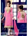 Celestial Pink Georgette Churidar Suit