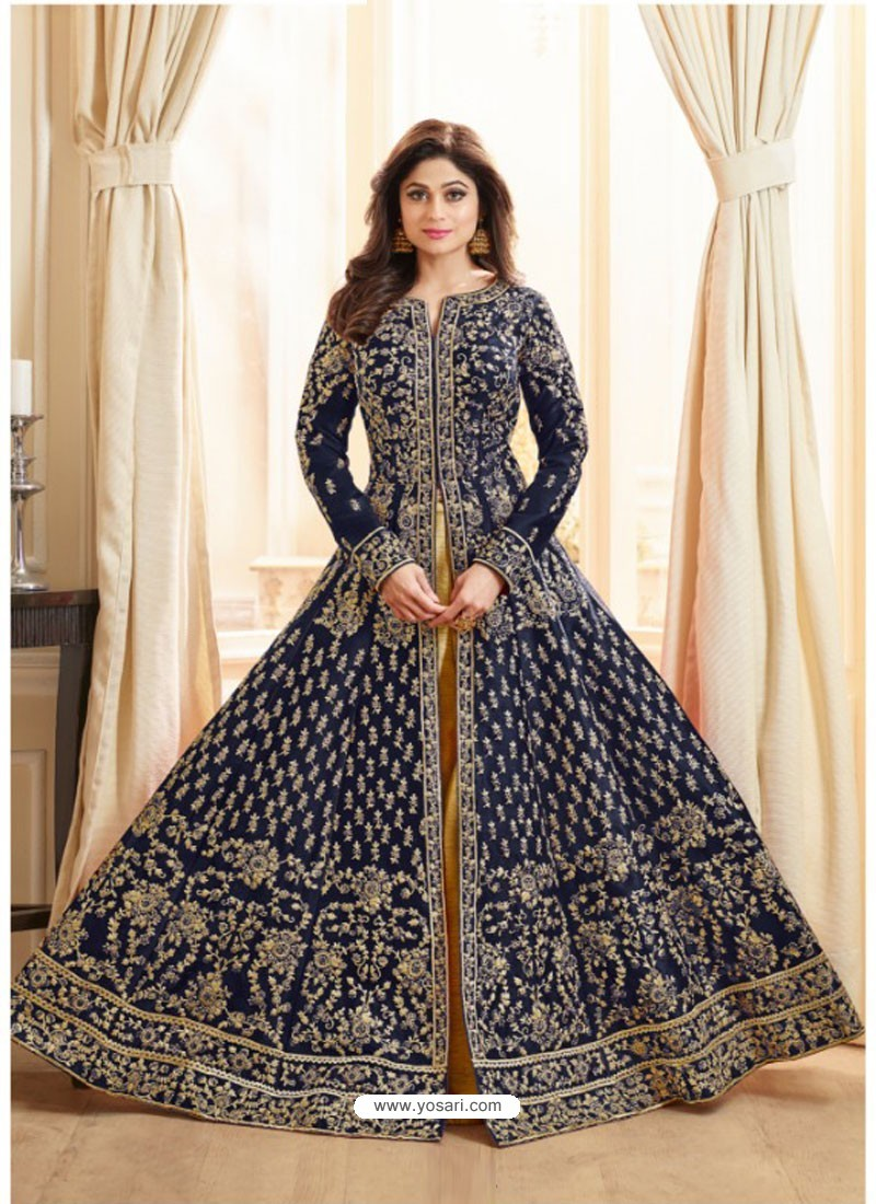 Navy Blue Embroidered Mulberry Silk Designer Anarkali Suit