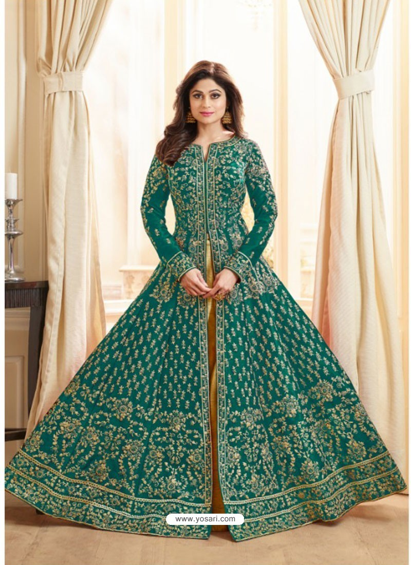Dark Green Embroidered Mulberry Silk Designer Anarkali Suit