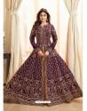 Purple Embroidered Mulberry Silk Designer Anarkali Suit