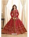 Red Embroidered Mulberry Silk Designer Anarkali Suit