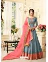 Grey And Peach Pure Silk Resham Embroidered Designer Anarkali Suit