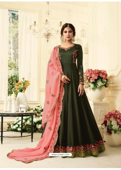 Mehendi Pure Silk Resham Embroidered Designer Anarkali Suit