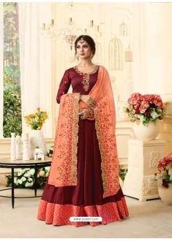 Maroon Silky Georgette Resham Embroidered Designer Anarkali Suit