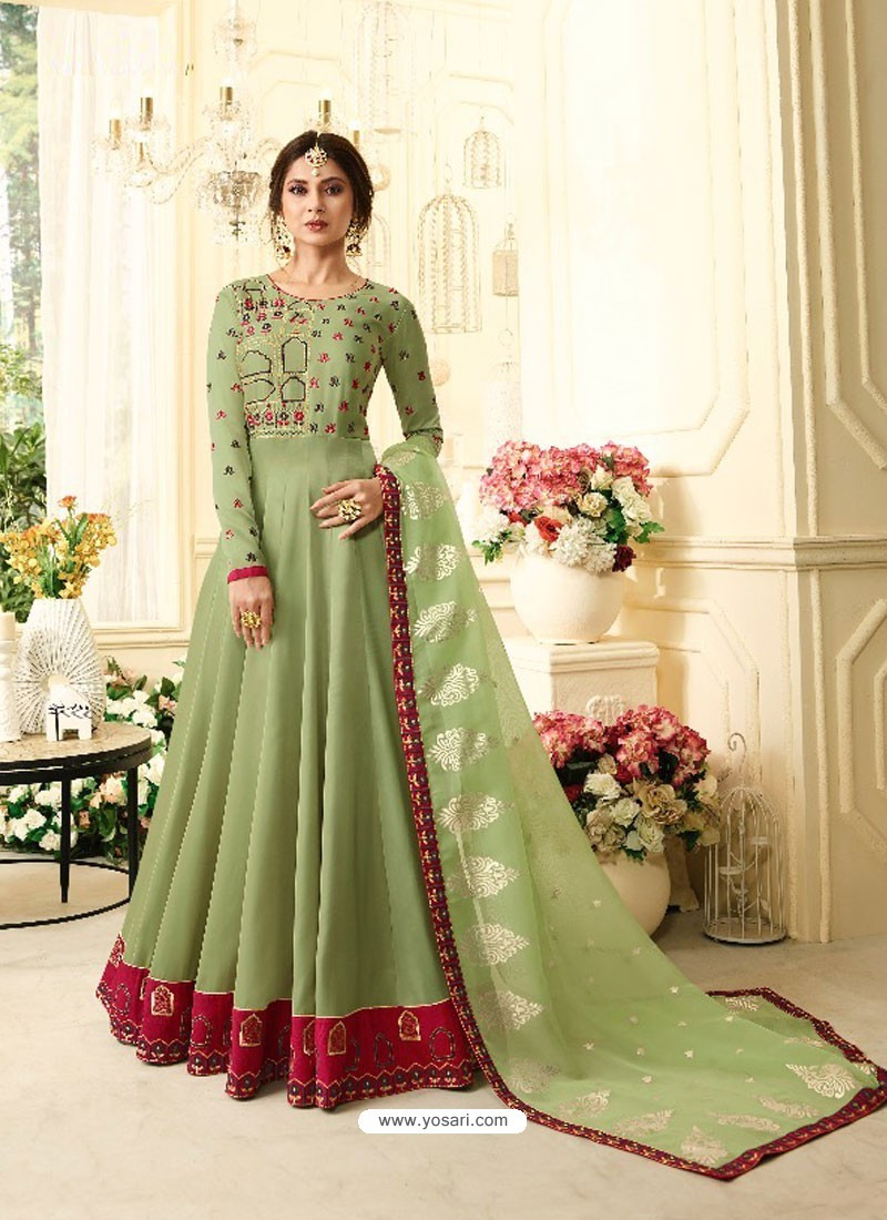 Green Banglori Silk Resham Embroidered Designer Anarkali Suit