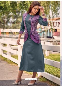Purple And Grey Printed Cotton Satin Designer Readymade Kurti