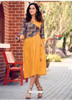 Mustard Printed Cotton Satin Designer Readymade Kurti