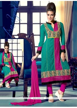Exquisite Teal Georgette Churidar Suit