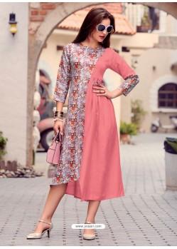 Light Pink Printed Cotton Satin Designer Readymade Kurti