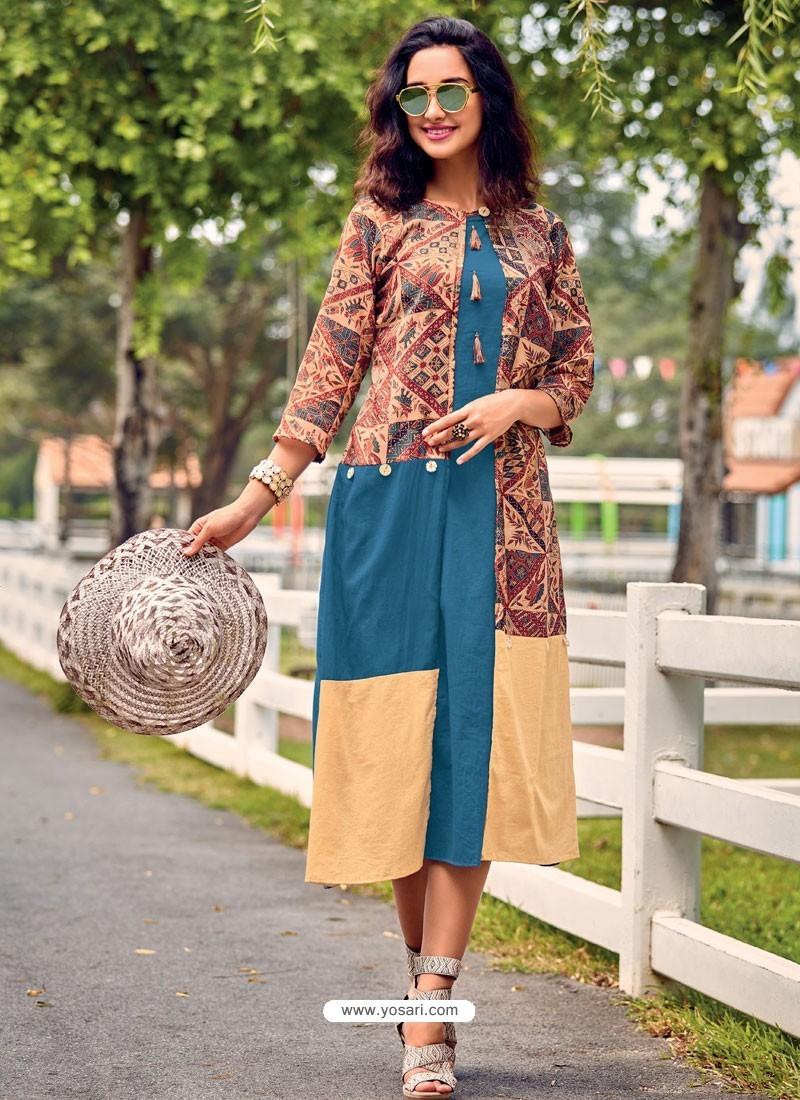 Tealblue And Brown Printed Cotton Satin Designer Readymade Kurti