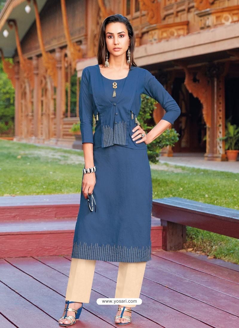 Navy Blue Silk Cotton Designer Readymade Kurti