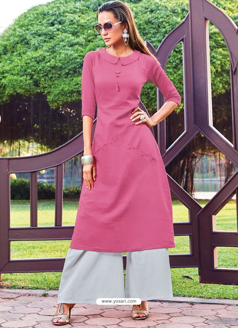 Hot Pink Silk Cotton Designer Readymade Kurti